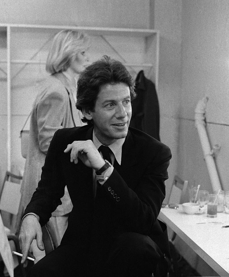 LOS ANGELES - 1979:  Fashion designer Calvin Klein poses for a portrait backstage before a fashion show for People Magazine in 1979 in Los Angeles, California.  (Photo by Joan Adlen/Getty Images)