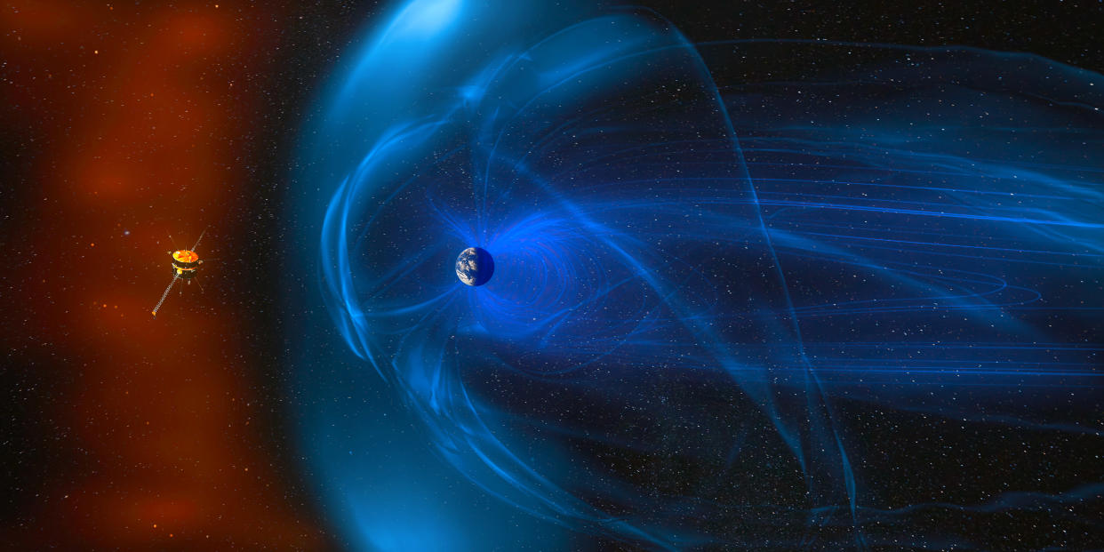 Magnetic lines of force surrounding Earth known as the magnetosphere against Sun s solar wind. Earth's magnetic field, the flow of particles. Element of this image furnished by NASA.