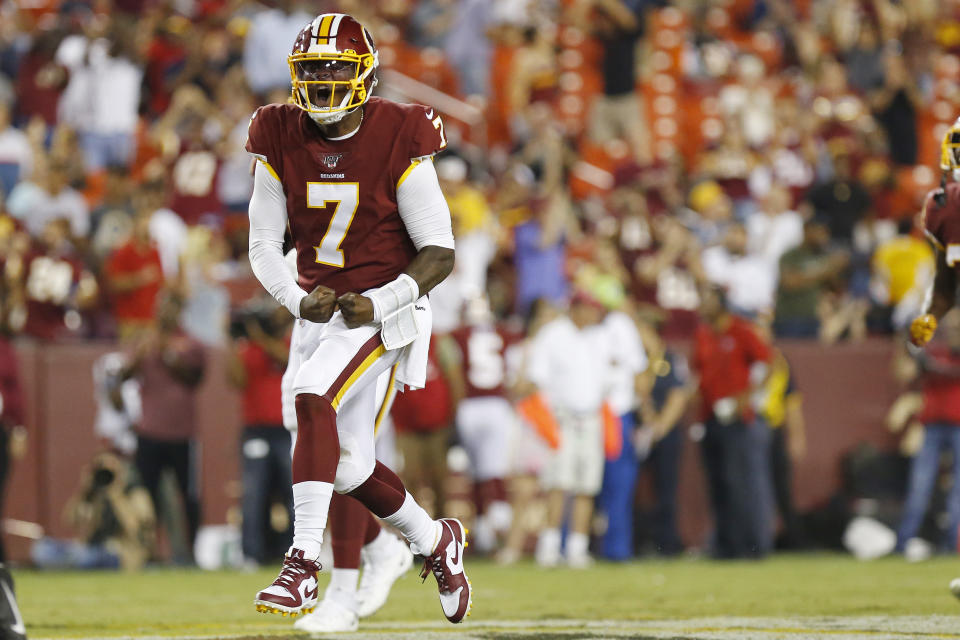 Dwayne Haskins unleashed an impressive deep touchdown on Thursday to signal Washington's QB battle may not be over. (Reuters)