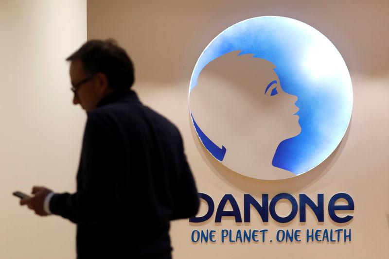 The logo of French food group Danone is seen at the company's headquarters in Paris