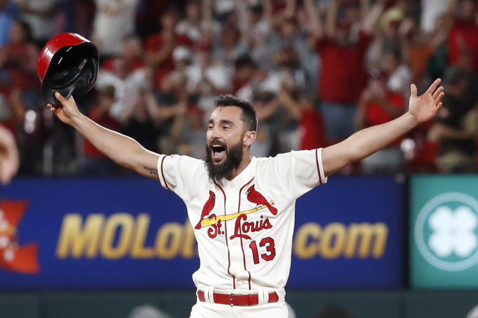 St. Louis Cardinals' Matt Carpenter celebrates after hitting a single to drive in the winning run against the Cincinnati Reds for a 3-2 win in the second baseball game of a doubleheader Saturday, Aug. 31, 2019, in St. Louis. (AP Photo/Jeff Roberson)