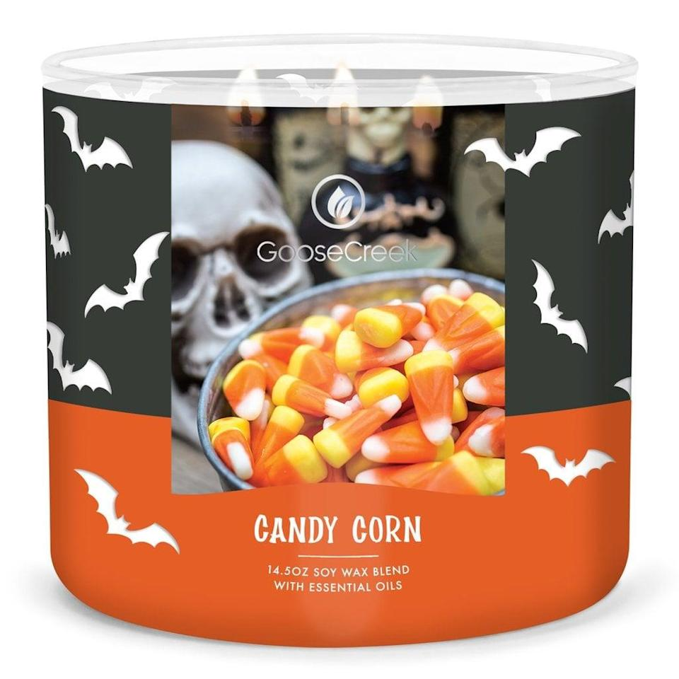 """<p>You can't have <a class=""""link rapid-noclick-resp"""" href=""""https://www.popsugar.com/Halloween"""" rel=""""nofollow noopener"""" target=""""_blank"""" data-ylk=""""slk:Halloween"""">Halloween</a> without candy corn or this <span>Goose Creek Candy Corn Candle</span> ($12, originally $25). Described as """"a creamy, candied vanilla blend,"""" this three-wick candle is made from a soy wax blend and essential oils.</p>"""