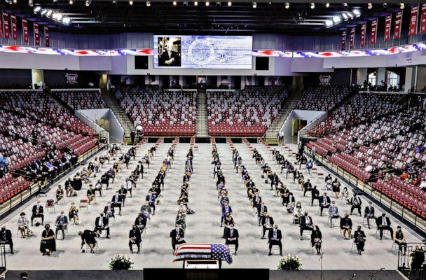 PHOTO: People pay their respects to the late Congressman John Lewis, a pioneer of the civil rights movement and long-time member of the U.S. House of Representatives, who died July 17, at Troy University's Trojan Arena in Troy, Ala., July 25, 2020. (Christopher Aluka Berry/Reuters)