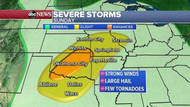 PHOTO: Severe weather is also possible on Sunday, especially in Oklahoma. (ABC News)