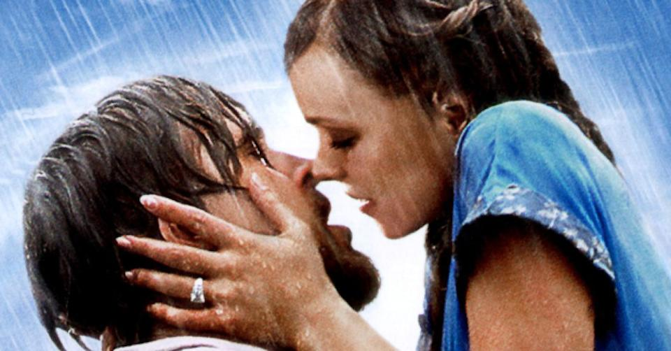 The rain-drenched kiss between Ryan Gosling and Rachel McAdams in 'The Notebook' is the most memorable image from the film. (New Line Cinema)