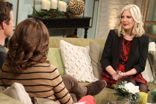 Tori Spelling stops by Access Hollywood Live on December 4, 2012 -- Access Hollywood