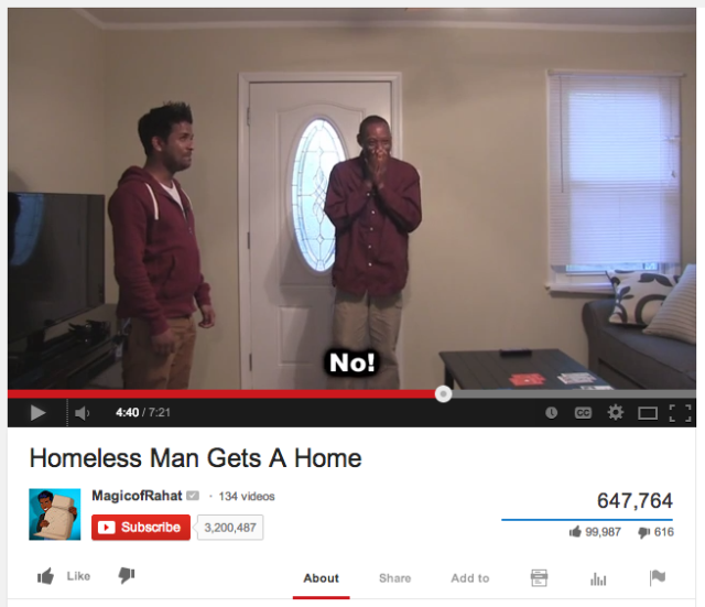 YouTube Prankster Gives Homeless Man a New Home
