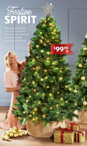 Aldi's $99 pre-lit Christmas tree is back and shoppers are thrilled. Photo: Aldi.