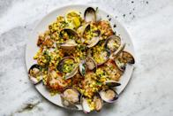 """You don't need <a href=""""https://www.epicurious.com/recipes/food/views/spaghetti-alle-vongole-365197?mbid=synd_yahoo_rss"""" rel=""""nofollow noopener"""" target=""""_blank"""" data-ylk=""""slk:pasta"""" class=""""link rapid-noclick-resp"""">pasta</a> to enjoy clam sauce. Here it mingles with fresh corn to top delicate pan-seared cod fillets. <a href=""""https://www.epicurious.com/recipes/food/views/skillet-cod-clams-and-corn-with-parsley?mbid=synd_yahoo_rss"""" rel=""""nofollow noopener"""" target=""""_blank"""" data-ylk=""""slk:See recipe."""" class=""""link rapid-noclick-resp"""">See recipe.</a>"""