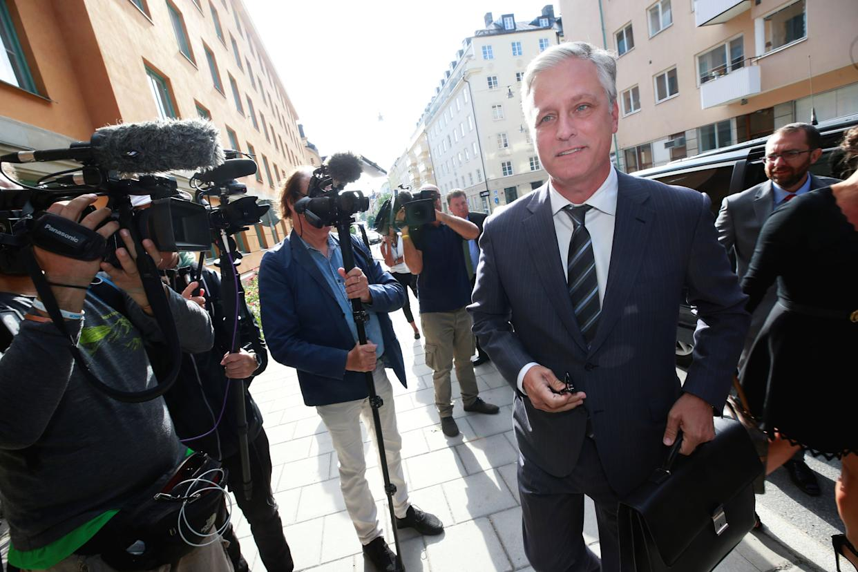 Robert C. O'Brien arrives at the district court during the second day of ASAP Rocky's trial in Stockholm on Aug. 1. (Photo: TT News Agency / Reuters)
