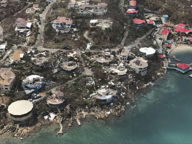 <p>Storm damage is seen in the aftermath of Hurricane Irma in Virgin Gorda's Leverick Bay in the British Virgin Islands on Sept. 8, 2017. (Photo: Caribbean Buzz Helicopters via AP) </p>