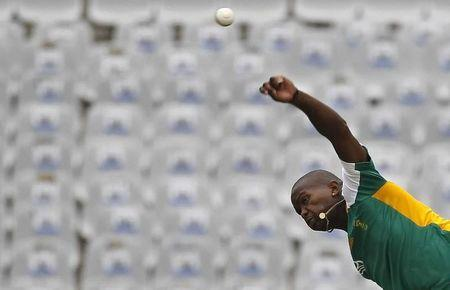 South Africa's Tsotsobe bowls during a cricket practice session in Mohali