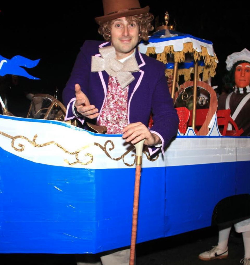 """<p>Feel like taking a boat ride down Willy Wonka's chocolate river? This amazingly over-the-top two-person costume will inspire you to put your DIY thinking cap on.</p><p><strong>See more at <a href=""""https://www.instagram.com/p/BpzqgKvHsZ5/"""" rel=""""nofollow noopener"""" target=""""_blank"""" data-ylk=""""slk:@goldentusk"""" class=""""link rapid-noclick-resp"""">@goldentusk</a>.</strong></p><p><a class=""""link rapid-noclick-resp"""" href=""""https://www.amazon.com/Heartwish268-Polyerter-Clothes-Accessories-Decoration/dp/B07KFYLXJF/ref=sr_1_6?tag=syn-yahoo-20&ascsubtag=%5Bartid%7C10050.g.28698768%5Bsrc%7Cyahoo-us"""" rel=""""nofollow noopener"""" target=""""_blank"""" data-ylk=""""slk:SHOP YELLOW FRINGE"""">SHOP YELLOW FRINGE</a></p>"""