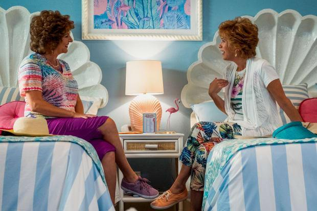 'Do you know they make denim culottes?' Barb (Annie Mumolo) and Star (Kristen Wiig) in their daytime culottes in 'Barb and Star Go to Vista Del Mar.