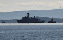 A navy vessel approaches Gare Loch