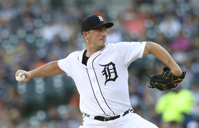 Detroit Tigers starting pitcher Jordan Zimmermann throws during the first inning of a baseball game against the Minnesota Twins, Friday, Aug. 10, 2018, in Detroit. (AP Photo/Carlos Osorio)