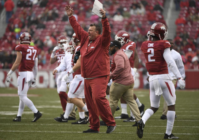 Bret Bielema won just 11 conference games in five seasons at Arkansas.