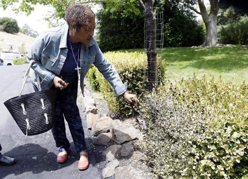 Mary Chapman surveys the scene of a limousine fire in Walnut Creek , Calif., Monday, June 10, 2013.  Chapman was one of ten women who escaped unharmed when the limousine they were in burst into flames while idling in Northern California. The Sunday morning fire in Walnut Creek came a little more than a month after five nurses were killed while trapped inside a burning limousine on the San Mateo-Hayward Bridge. (AP Photo/Marcio Jose Sanchez)