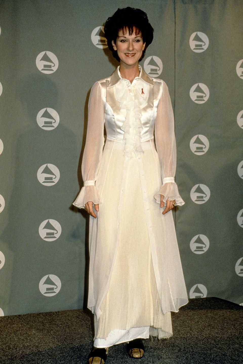 "<p>Music's <a href=""https://www.cosmopolitan.com/style-beauty/fashion/g10330555/celine-dion-being-extra/"" rel=""nofollow noopener"" target=""_blank"" data-ylk=""slk:queen of fashion"" class=""link rapid-noclick-resp"">queen of fashion</a> channeling <em>Little House on the Prairie</em>, maybe?</p>"