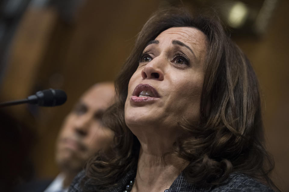 Sen. Kamala Harris, D-Calif., listens to Christine Blasey Ford testify during the Senate Judiciary Committee hearing on the nomination of Brett M. Kavanaugh to be an associate justice of the Supreme Court of the United States, focusing on allegations of sexual assault by Kavanaugh against Christine Blasey Ford in the early 1980s. (Tom Williams/Pool Photo via AP)