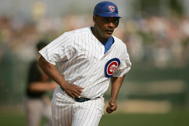 Angel Echevarria, who played in the majors from 1996-2002, died on Friday night in a Connecticut hospital. His cause of death is still unknown. (Nick Laham/Getty Images)