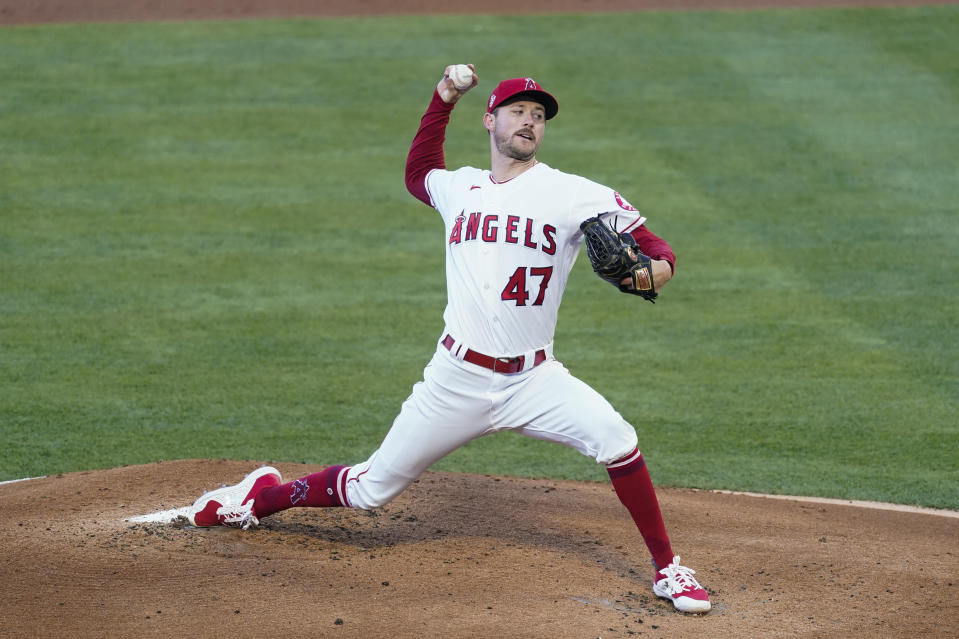Los Angeles Angels relief pitcher Griffin Canning (47) throws during the first inning of a baseball game against the Kansas City Royals Wednesday, June 9, 2021, in Los Angeles, Calif. (AP Photo/Ashley Landis)