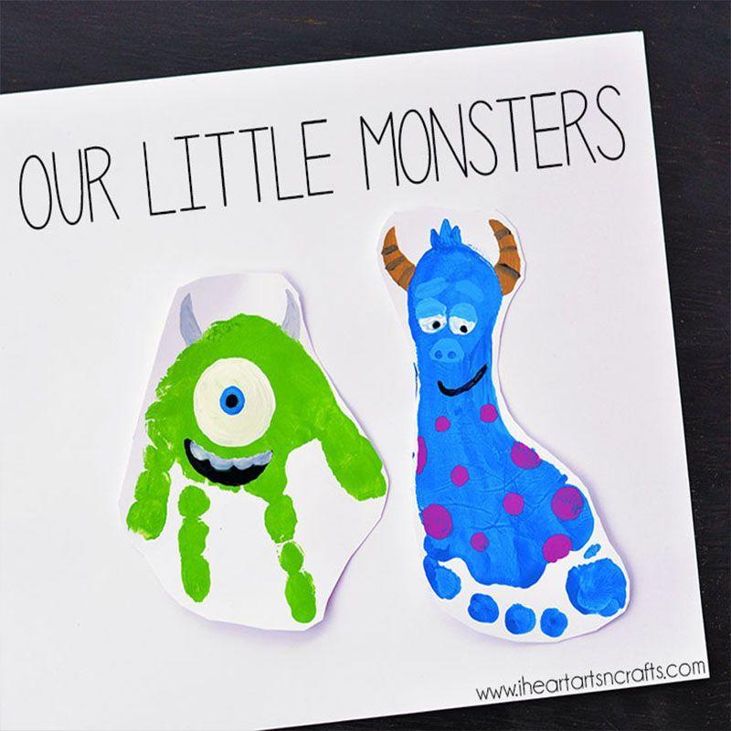 "<p>Who knew you could create so much fun art just with your hands and feet alone? Dad will proudly hang this in his office. </p><p><em>Get the tutorial at <a href=""https://www.iheartartsncrafts.com/monsters-inc-inspired-footprint-art/"" rel=""nofollow noopener"" target=""_blank"" data-ylk=""slk:I Heart Arts N Crafts"" class=""link rapid-noclick-resp"">I Heart Arts N Crafts</a>. </em></p>"