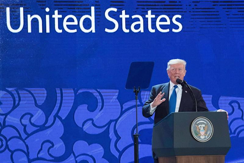Donald Trump speaks at Asia-Pacific Economic Cooperation summit in Danang, Vietnam: AFP/Getty Images