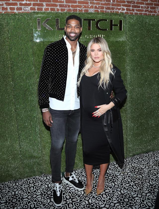 Tristan Thompson and Khloé Kardashian in February 2017. (Photo: Getty Images)