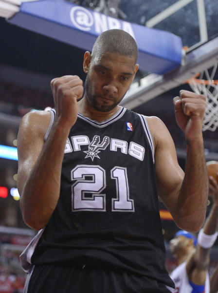 San Antonio Spurs center Tim Duncan celebrates after scoring during the second half in Game 3 of an NBA basketball playoffs Western Conference semifinal against the Los Angeles Clippers, Saturday, May 19, 2012, in Los Angeles. The Spurs won 96-86 for a 3-0 series lead. (AP Photo/Mark J. Terrill)