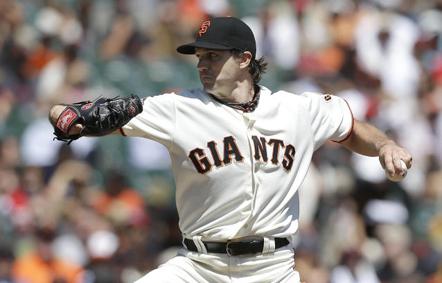 San Francisco Giants starter Barry Zito throws against the Boston Red Sox during the first inning of a baseball game in San Francisco, Wednesday, Aug. 21, 2013. (AP Photo/Jeff Chiu)