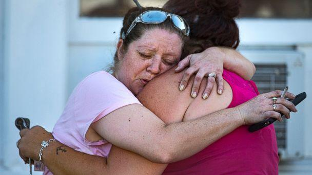 PHOTO: Carrie Matula embraces a woman after a fatal shooting at the First Baptist Church in Sutherland Springs, Texas, Nov. 5, 2017. (Nick Wagner/Statesman.com via AP)