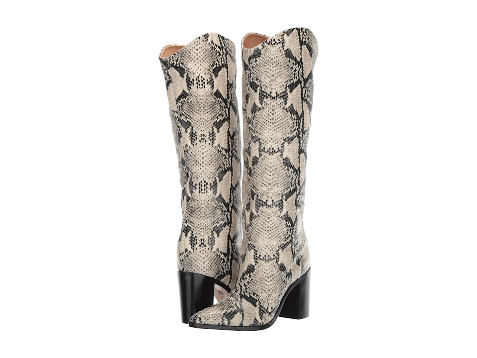 """<br><br><strong>Schutz</strong> Analeah Boots, $, available at <a href=""""https://go.skimresources.com/?id=30283X879131&url=https%3A%2F%2Fwww.zappos.com%2Fp%2Fschutz-analeah-natural-snake%2Fproduct%2F9307092%2Fcolor%2F486"""" rel=""""nofollow noopener"""" target=""""_blank"""" data-ylk=""""slk:Zappos"""" class=""""link rapid-noclick-resp"""">Zappos</a>"""