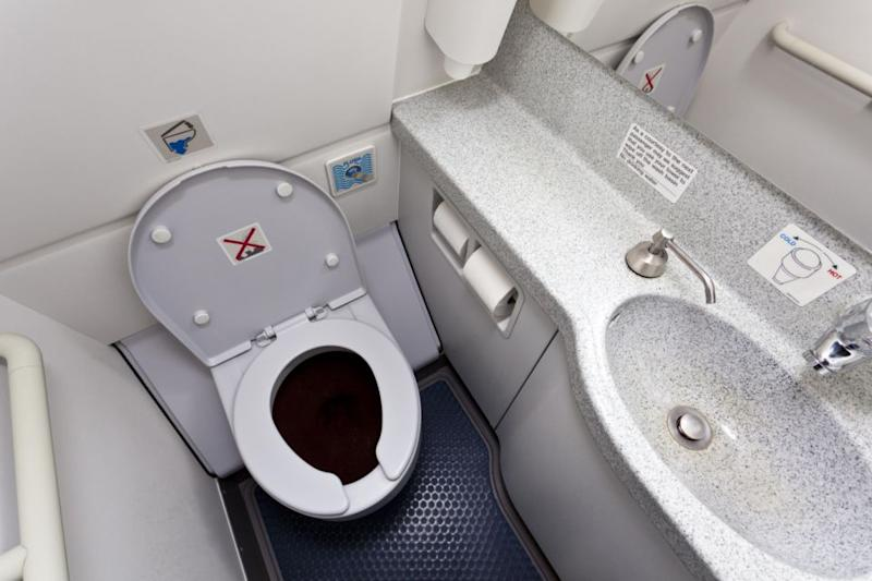 Plane bathroom floors are not the cleanest. Photo: Gettty