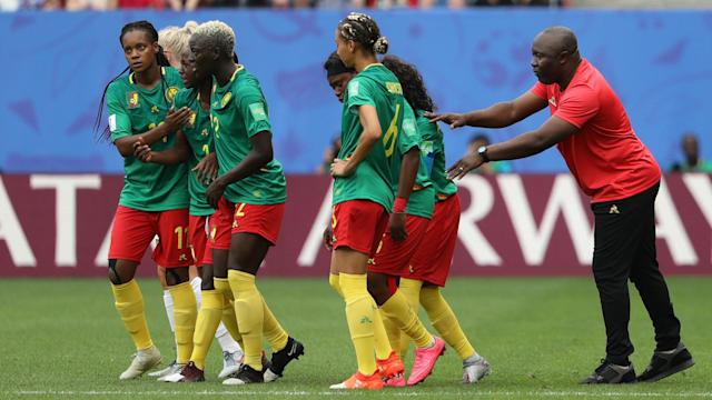 "England coach Phil Neville branded Cameroon's behaviour ""unacceptable"" but opposite number Alain Djeumfa did not share his point of view."