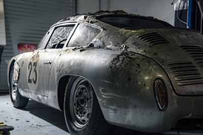 Image of the damage that the 1961 Porsche Carrera Abarth GTL sustained in the gas explosion in Durham, North Carolina. Photo by Brian Rozar