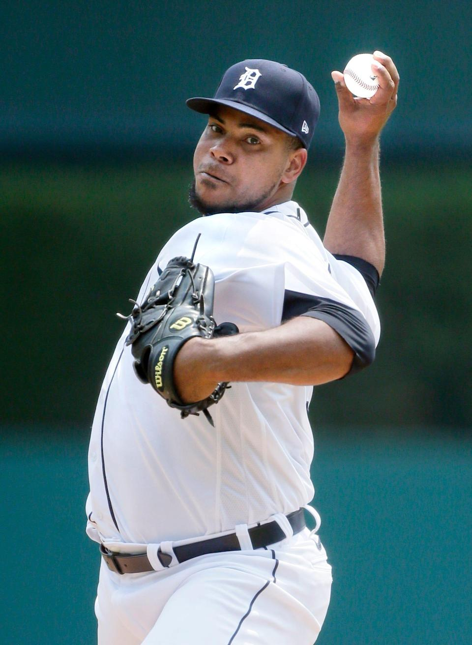 Detroit Tigers starter Wily Peralta pitches against the Minnesota Twins during the third inning of a baseball game Sunday, July 18, 2021, in Detroit.