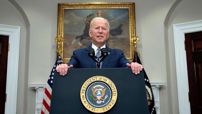 US President Joe Biden speaks about the ongoing evacuation of Afghanistan, on August 24, 2021, from the Roosevelt Room of the White House in Washington, DC. (Jim Watson/AFP via Getty Images)