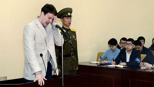 Otto Warmbier cries at court in Pyongyang after finding out he would be sentenced to 15 years of hard labour in N. Korea. Photo: REUTERS