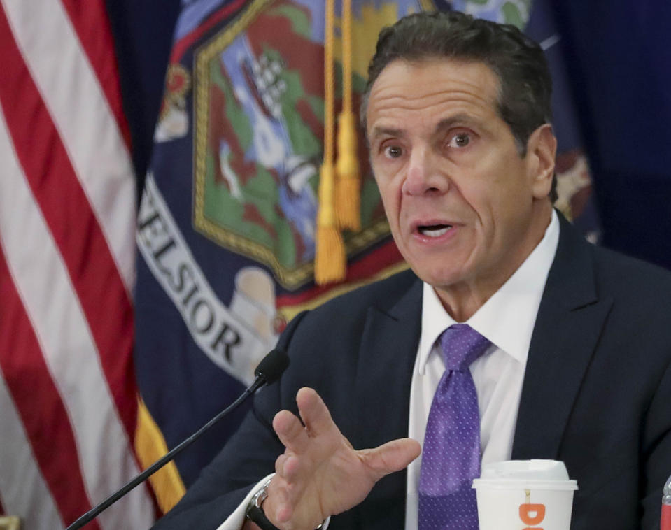 FILE - In this Oct. 17, 2019, file photo, New York Gov. Andrew Cuomo addresses a regional summit of governors in New York. In April 2020, Cuomo and Democratic legislative leaders agreed to amend a law that ruled out money bail and pretrial detention for most misdemeanor and nonviolent felony charges. Changes to the law will allow judges to set bail for more crimes, including misdemeanor bail jumping. Several criminal justice reform groups and state lawmakers raised concern at a Thursday, July 2, 2020, virtual news conference that the amended law, which goes into effect in July, will land more people behind bars amid the ongoing coronavirus pandemic. (AP Photo/Bebeto Matthews, File)