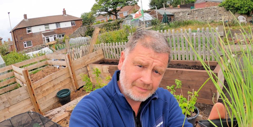 Tony built raised beds in his allotment himself.