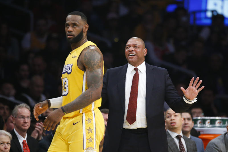 Los Angeles Clippers head coach Doc Rivers reacts during an NBA basketball game between Los Angeles Lakers and Los Angeles Clippers, Wednesday, Dec. 25, 2019, in Los Angeles. The Clippers won 111-106. (AP Photo/Ringo H.W. Chiu)