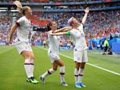 """<p>After beating Thailand 13-0 in their first match (which was more goals in one game than the US men's soccer team has scored in all World Cups since 2006 combined), the USWNT went on to become world champions, beating the Netherlands 2-0 in the final round. Led by Alex Morgan and Megan Rapinoe, the team dominated in games throughout the tournament. Off the field, the USWNT was rallying around issues of equal treatment and equal pay, raising awareness that the US men's team, ranked 30th in the world, <a href=""""http://www.vox.com/2019/7/7/20685183/us-womens-soccer-team-fifa-world-cup-title-2019-france-vs-netherlands"""" class=""""link rapid-noclick-resp"""" rel=""""nofollow noopener"""" target=""""_blank"""" data-ylk=""""slk:was paid more after losing"""">was paid more after losing</a> in the 16th round of the World Cup than the women were for winning it.</p>"""