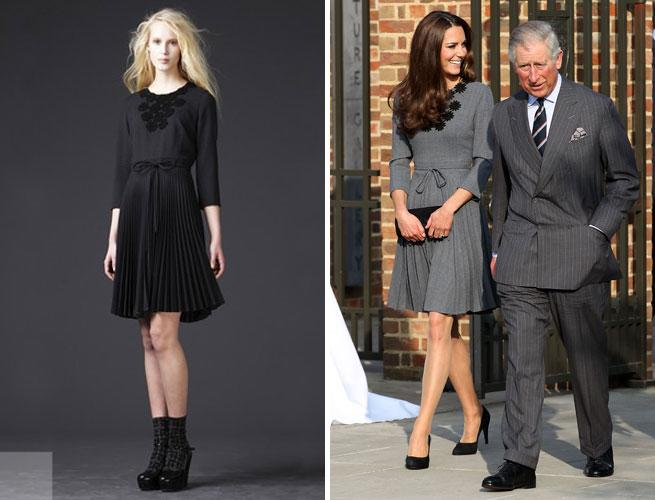 Kate Middleton Wears a Grey Orla Kiely Dress at the Dulwich Gallery