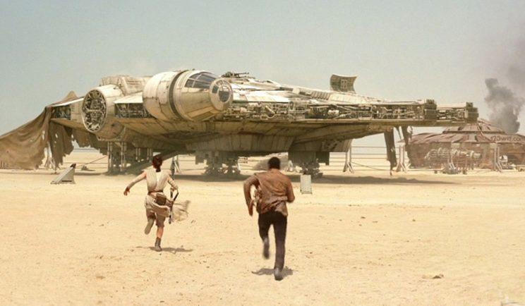 The Millennium Falcon in Star Wars: The Force Awakens - Credit: Lucasfilm