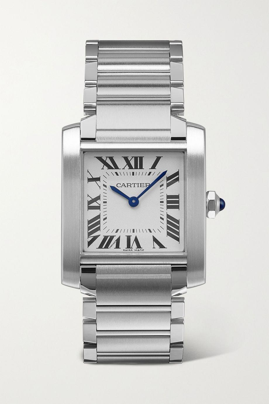 """<p>Cartier, £3,600.00</p><p><a class=""""link rapid-noclick-resp"""" href=""""https://go.redirectingat.com?id=127X1599956&url=https%3A%2F%2Fwww.net-a-porter.com%2Fen-gb%2Fshop%2Fproduct%2Fcartier%2Ftank-francaise-25mm-medium-stainless-steel-watch%2F1301941&sref=https%3A%2F%2Fwww.elle.com%2Fuk%2Ffashion%2Fwhat-to-wear%2Farticles%2Fg31918%2Fbest-watches-to-buy-this-season%2F"""" rel=""""nofollow noopener"""" target=""""_blank"""" data-ylk=""""slk:SHOP NOW"""">SHOP NOW</a></p>"""