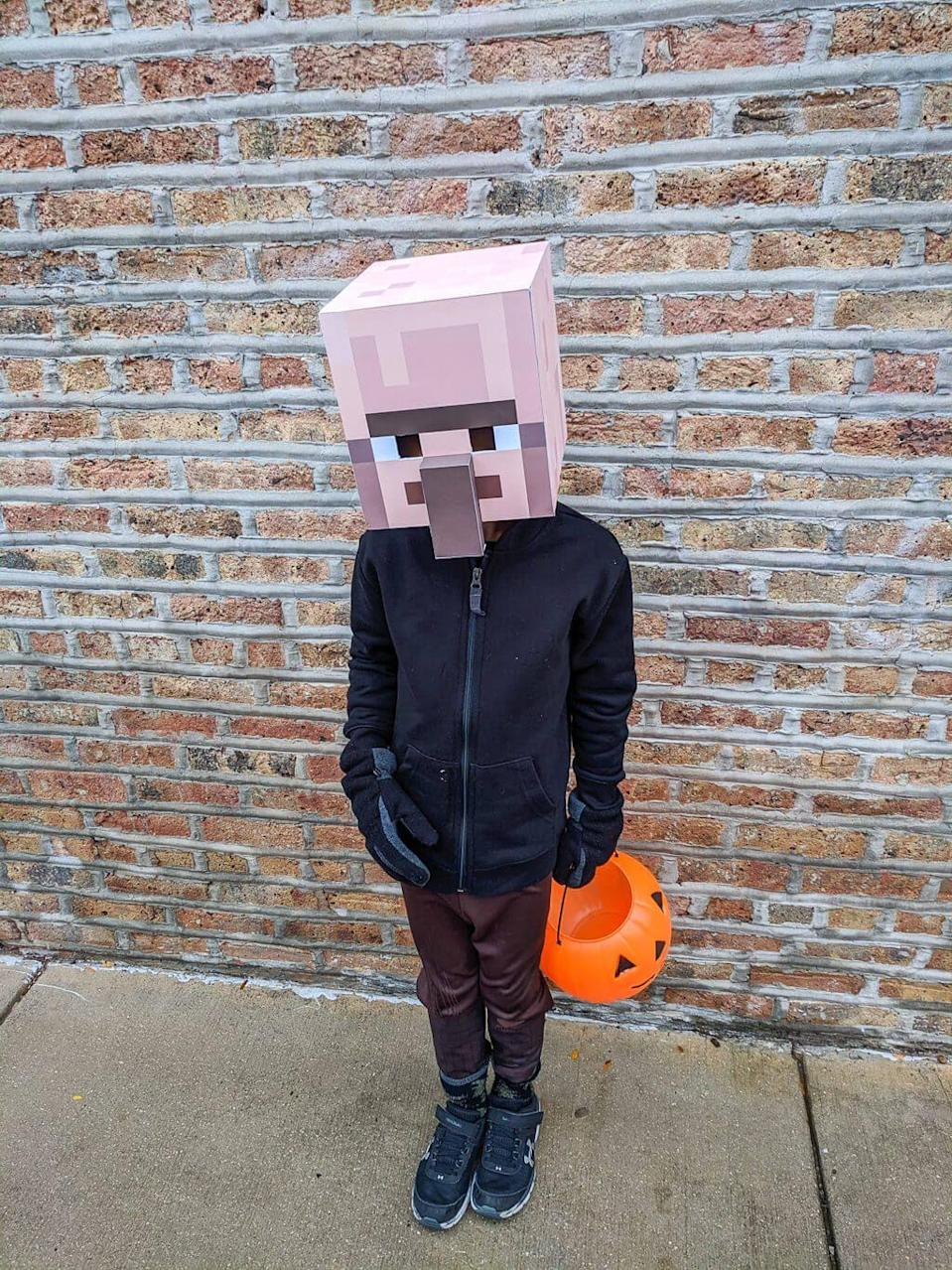 """<p>Show your loyalty to <em><a href=""""https://www.merrimentdesign.com/minecraft-halloween-costume-diy-for-kids.php"""" rel=""""nofollow noopener"""" target=""""_blank"""" data-ylk=""""slk:Minecraft"""" class=""""link rapid-noclick-resp"""">Minecraft</a></em> with this DIY look. Your little gamer will go gaga over our pick.<br></p>"""