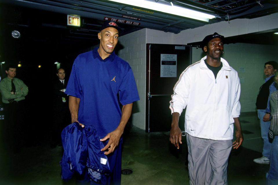 Michael Jordan, right, and Chicago Bulls teammate Scottie Pippen enter the arena prior to Game 1 of the 1997 NBA Finals against the Utah Jazz at the United Center on June 1, 1997 in Chicago, Illinois. (Photo by Andrew D. Bernstein/NBAE via Getty Images)