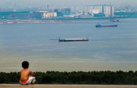 FILE PHOTO: A boy looks at cargo ships passing along the Pearl River in Guangzhou, Guangdong province, August 6, 2014.     REUTERS/Alex Lee/File Photo