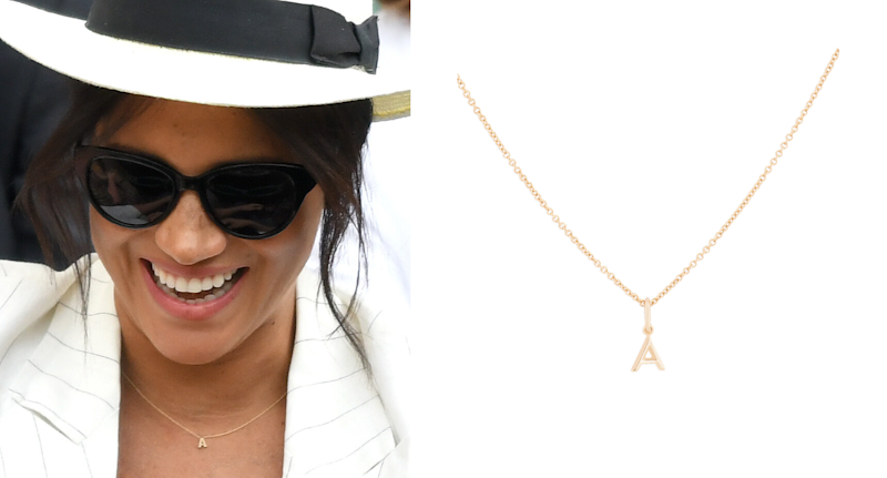 Meghan Markle seen wearing sunglasses and an initial charm necklace.